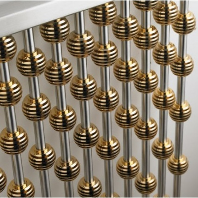 Aeon Abacus 950 x 460 Gold globes. Brushed Stainless Steel