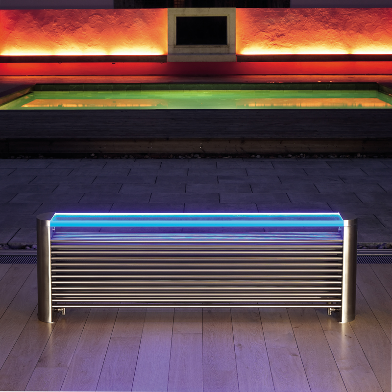 Glass top for Brushed Aeon Ottoman (length 1670 model) with free LED light kit