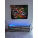 Glass top for Polished Aeon Ottoman (length 1170 model) with free LED light kit